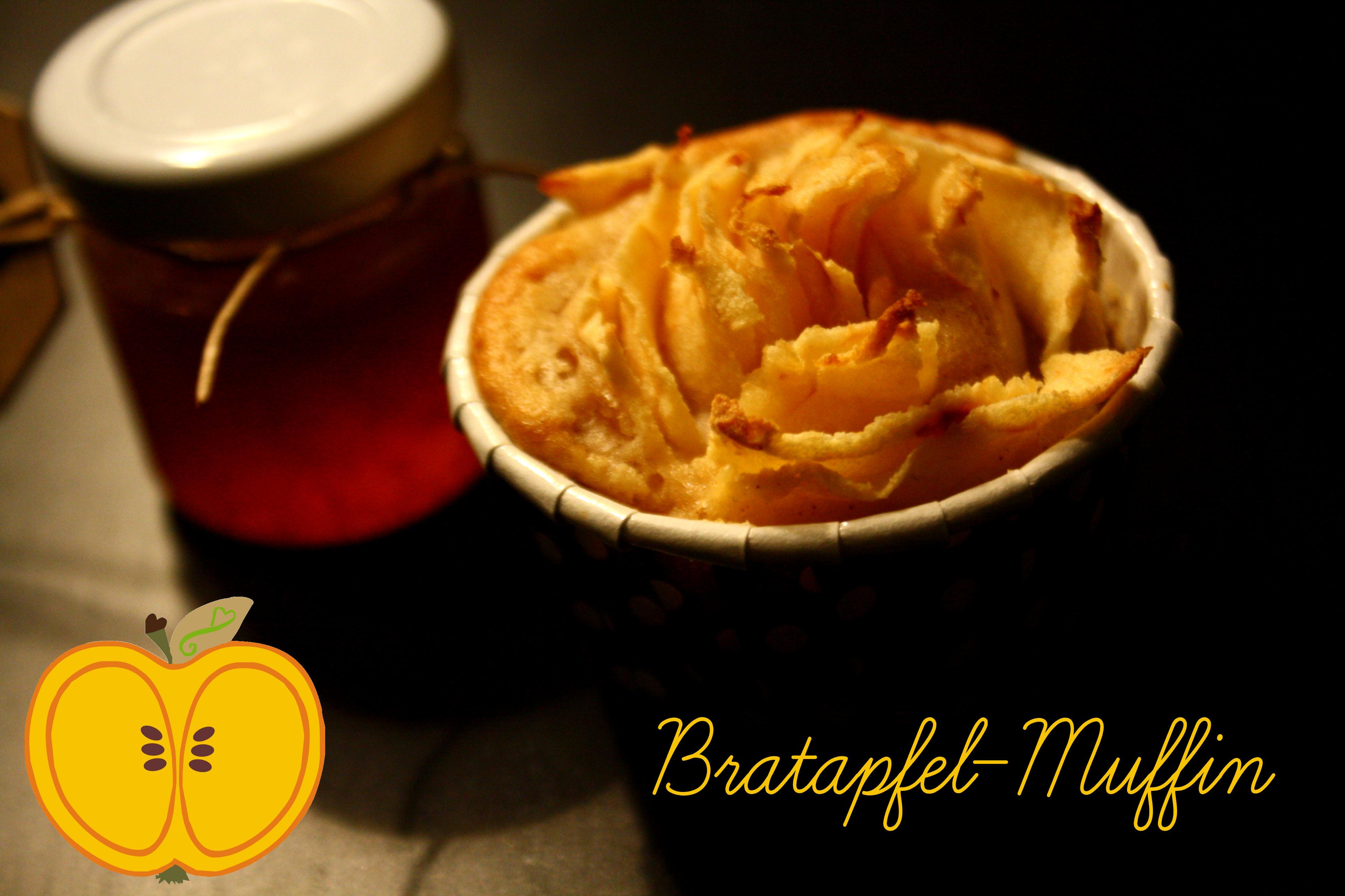 Bratapfel Muffins mit Apfelrosen und Sirup