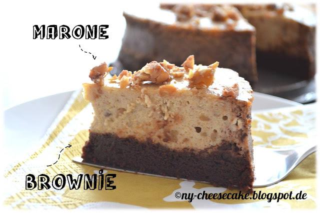 Cheesecake auf Brownie mit Maronen