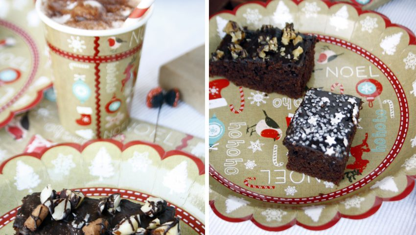 Schnelle Party Deko und Brownies // easy Christmas decoration and some brownies by http://babyrockmyday.com/schneller-weihna…sch-und-brownies/