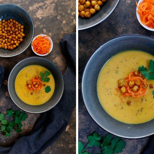Kokos-Karotten-Suppe mit Kichererbsen und Koriander // Carrot Coconut Soup with Coriander and Chickpeas by http://babyrockmyday.com/kokos-karotten-suppe/