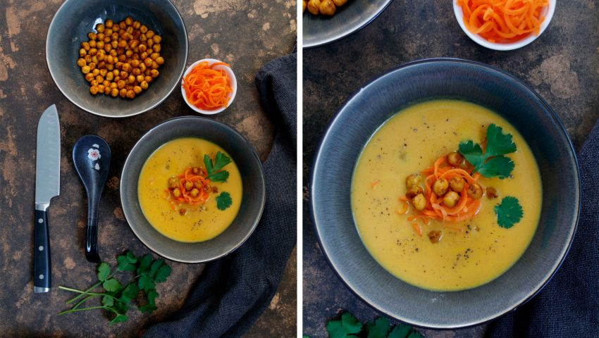 Kokos-Karotten-Suppe mit Kichererbsen und Koriander // Carrot Coconut Soup with Coriander and Chickpeas by http://babyrockmyday.com/kokos-karotten-suppe/
