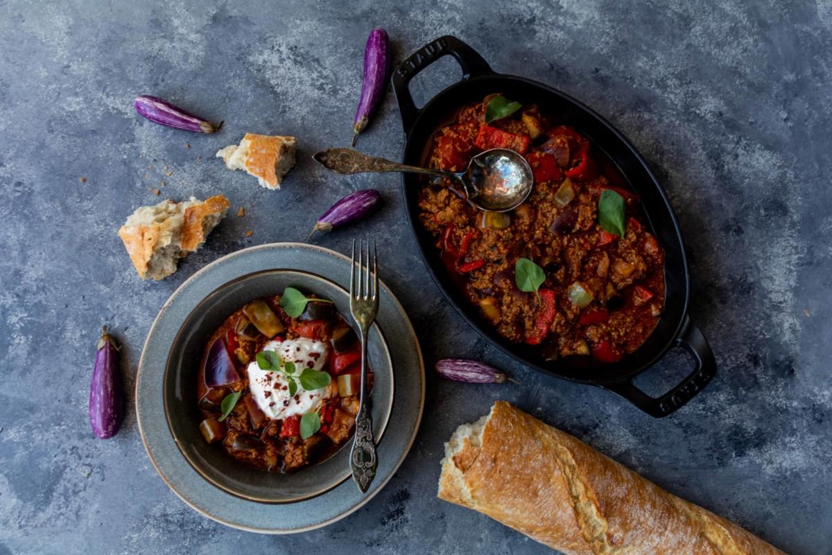 Orientalische Hackpfanne mit Auberginen (Veggie) // Oriental minced meat with eggplant by http://babyrockmyday.com/orientalische-hackpfanne/